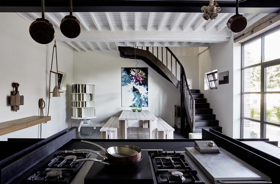 Bespoke kitchen by Roderick Vos for the Gourmet restaurant of Château de la Resle boutique hotel in Burgundy