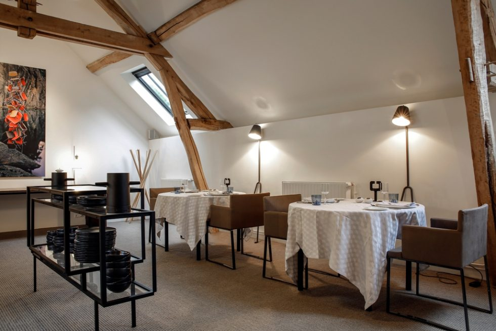 Dining room at the gourmet restaurant of Château de la Resle a member of Design hotels close to Chablis and Auxerre